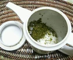 氷水出し茶葉を急須ごと冷蔵庫で保存